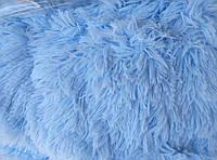Покрывало травка длинный ворс 220х240 Koloco ,небесно голубой