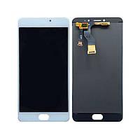 Дисплей (экран) для Meizu M3 Note M681H/M681Q/M681C + с сенсором (тачскрином) шлейф вверх белый Оригинал