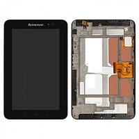 Дисплей (экран) для планшета Lenovo LePad A1-07 + с сенсором (тачскрином) и рамкой черный Оригинал