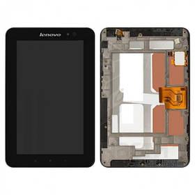 Дисплей (экран) для Lenovo A1-07 LePad с сенсором (тачскрином) и рамкой черный Оригинал