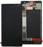 Дисплей (экран) для Nokia 730 Lumia Dual Sim/735 (RM-1040) + с сенсором (тачскрином) и рамкой черный Оригинал