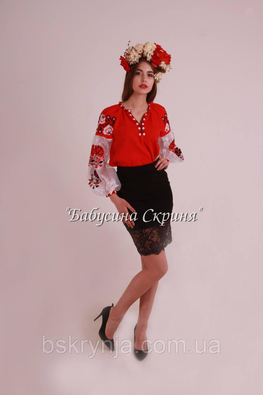 Вишита туніка жіноча МВ-01 червона  продажа 701283457e63e