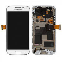 Дисплей (экран) для Samsung i9190 Galaxy S4 mini + с сенсором (тачскрином) и рамкой белый
