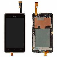 Дисплей (экран) для HTC 400 Desire Dual Sim + с сенсором (тачскрином) и рамкой голубой Оригинал