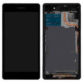 Дисплей (экран) для Sony D6503 Xperia Z2 L50W з сенсором (тачскріном) и рамкой черный Оригинал