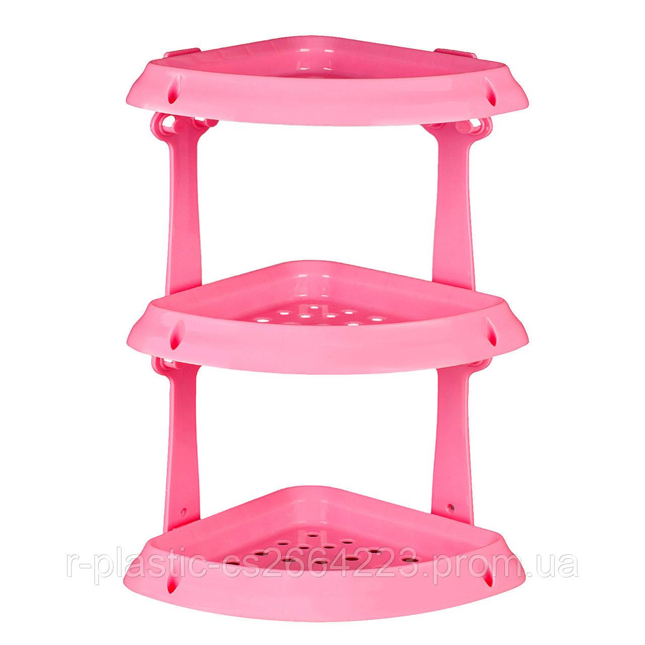 Полка R-Plastic угловая 3 яруса в ванную комнату розовая