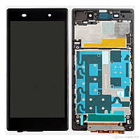 Дисплей (экран) Sony C6902 L39h Xperia Z1/С6903/С6906/С6943 с сенсором (тачскрином) и рамкой черный Оригинал