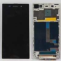 Дисплей (экран) Sony C6902 L39h Xperia Z1/С6903/С6906/С6943 с сенсором (тачскрином) и рамкой белый Оригинал