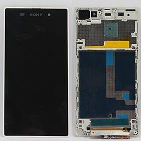 Дисплей (экран) для Sony С6943 Xperia Z1 L39h з сенсором (тачскріном) и рамкой белый