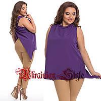 Женская однотонная  блуза с ассиметричной спинкой. Батал.