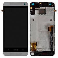 Дисплей (экран) для HTC One mini 601n + с сенсором (тачскрином) и рамкой белый Оригинал