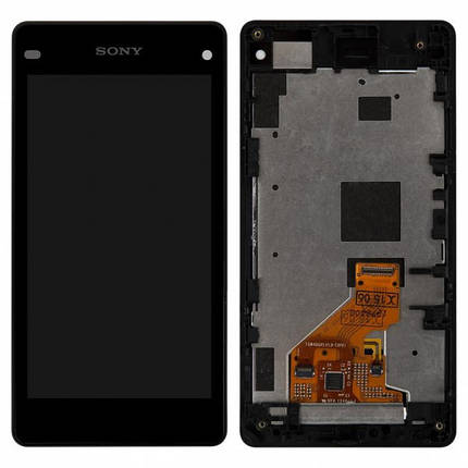 Дисплей (экран) для Sony D5503 Xperia Z1 Compact с сенсором (тачскрином) и рамкой черный, фото 2