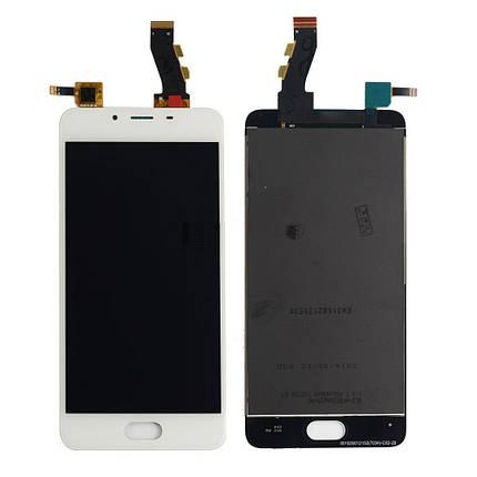 Дисплей (экран) для Meizu U10 (U680H) с сенсором (тачскрином) белый Оригинал, фото 2