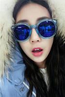 Модные женские солнцезащитные очки линза голубая