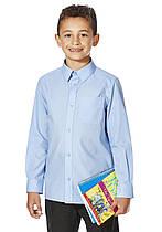Школьная рубашка голубая с длинным рукавом на мальчика 15-16 лет Easy to Iron F&F (Англия)