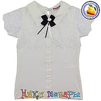 Нарядная блузка молочного цвета для девочек от 6 до 13 лет (5464-2)