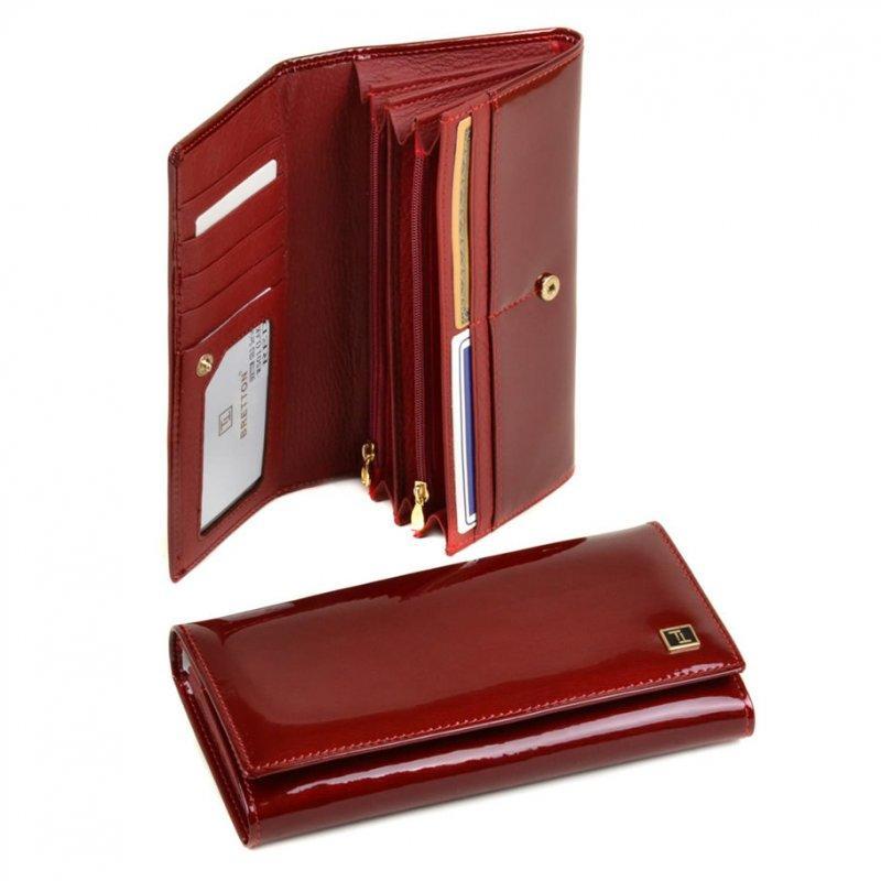 Красный лаковый кошелек Gold W501 red, фото 1