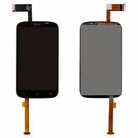 Дисплей (экран) для HTC T328e Desire X + с сенсором (тачскрином) черный Оригинал