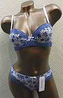 Комплект белья 35687 чашка С белый в синие цветочки