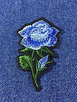 Нашивка Роза  s цвет голубой