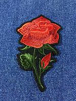 Нашивка Роза 2 бутона цвет красный 68х110 мм