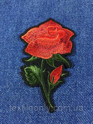 Нашивка Роза 2 бутона цвет красный 68х110 мм , фото 2