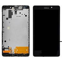 Дисплей (экран) для Nokia X Dual Sim (RM-980) + с сенсором (тачскрином) и рамкой черный Оригинал