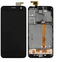 Дисплей (экран) для Alcatel One Touch 6012 Idol mini Sate + с сенсором (тачскрином) и рамкой черный Оригинал