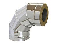Колено дымоходное 90° диаметром 120/180 из нержавеющей стали с теплоизоляцией  в нержавеющем кожухе