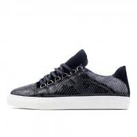 Мужские кеды Balenciaga Arena Crocodile Low Top Sneakers Black