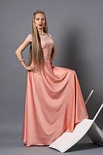 Вечернее платье в пол с гипюровой спинкой