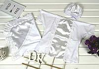 Крестильный набор Ангел атлас (шапочка, сорочка, крыжма) белого цвета