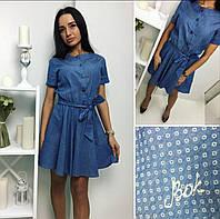 Женское летнее джинсовое мини платье