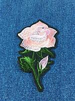 Нашивка Роза 2 бутона цвет розовый 68х110 мм