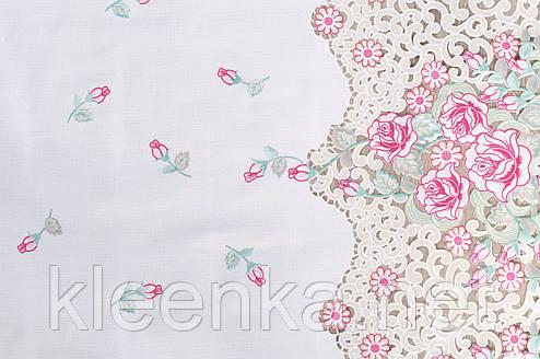 Скатерть клеенчатая кружевная Ажур Лейс Розы, фото 2