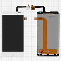 Дисплей (экран) для Fly IQ4514 Quad EVO Tech 4/Nous NS 5 + с сенсором (тачскрином) белый Оригинал