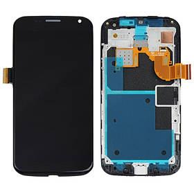 Дисплей (экран) для Motorola XT1060 Moto X с сенсором (тачскрином) и рамкой черный Оригинал