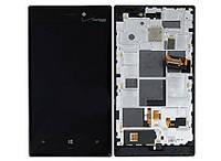 Дисплей (экран) для Nokia 928 Lumia (Verizon) + с сенсором (тачскрином) и рамкой черный Оригинал