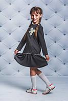 Платье школьное для девочки с бантом т-серое