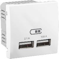 USB розетка для зарядки Unica (2 модульные), 2,1 А