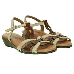 Сандалии женские Presso (интересное сочетание бежевого и коричневого цветов, кожаные, удобные, модные)