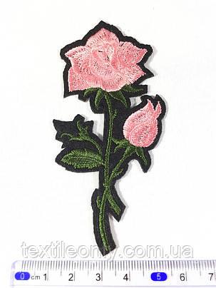 Нашивка Роза цвет розовый s 48x100 мм, фото 2