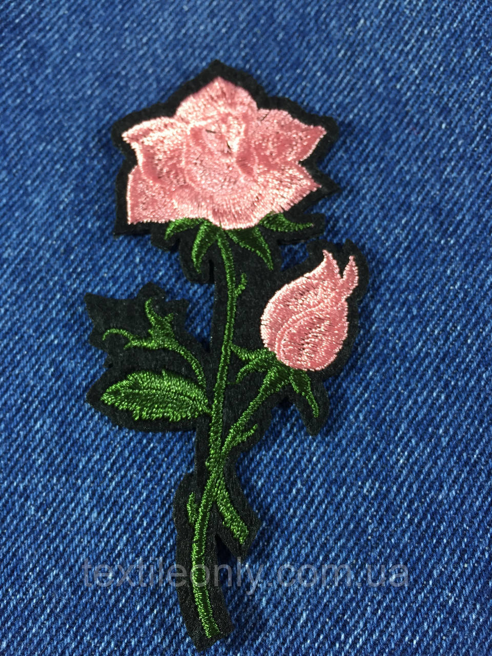 Нашивка Роза цвет розовый s 48x100 мм