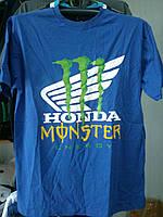 Футболка HONDA Monster Energy 100% хлопок синяя