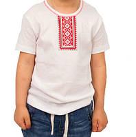 Детская футболка вышиванка  для мальчиков белая летняя трикотажная хлопок (Украина)