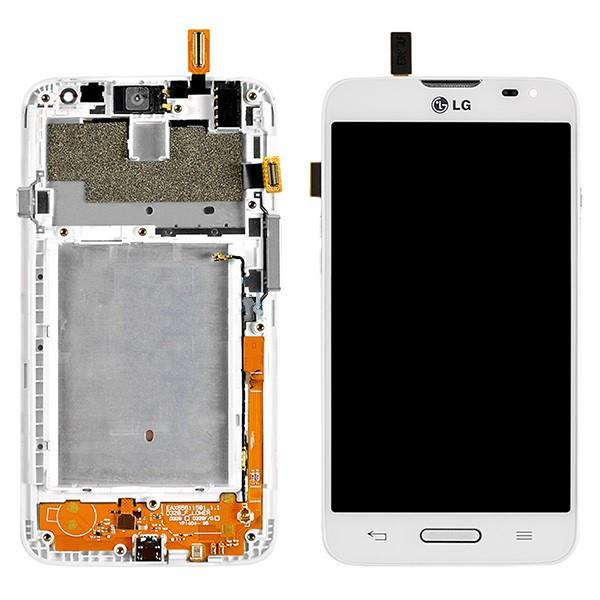 Дисплей (экран) для LG D320 Optimus L70 з сенсором (тачскріном) и рамкой белый Оригинал