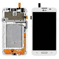 Дисплей (экран) для LG D320 Optimus L70, D321 Optimus L70, MS323 + с сенсором (тачскрином) и рамкой белый