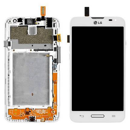 Дисплей (экран) для LG D320 Optimus L70 з сенсором (тачскріном) и рамкой белый Оригинал, фото 2