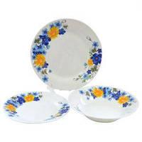 Набор столовой посуды Цветы сине-желтые 18 предметов Оселя, 21-206-125