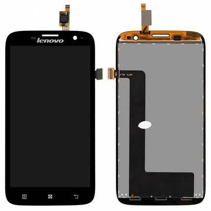 Дисплей (экран) для Lenovo A859 с сенсором (тачскрином) черный, фото 2